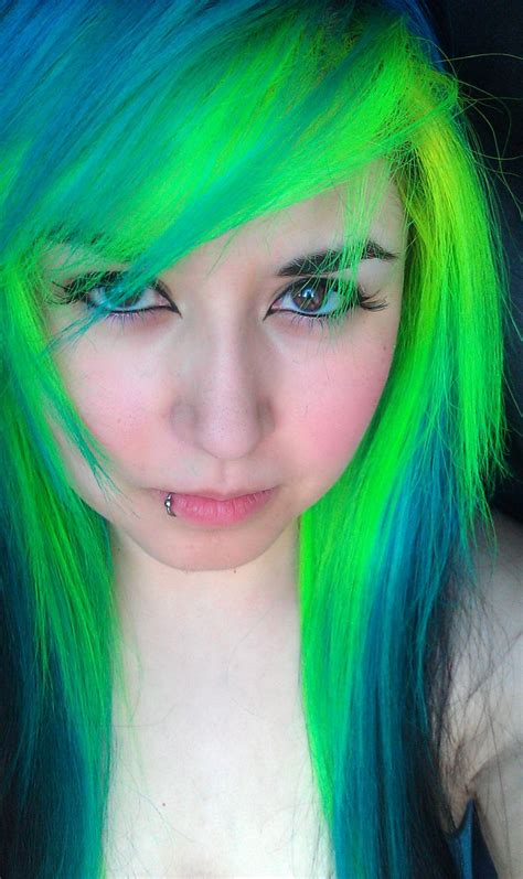 Bright Green And Blue Dyed Hair Hair Stuff Pinterest