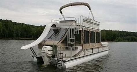 Pontoon With Upper Deck And Slide For Sale by Double Decker Pontoon Boat With A Slide Almost Like Ours