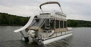 Double Decker pontoon boat with a slide...almost like ours ...