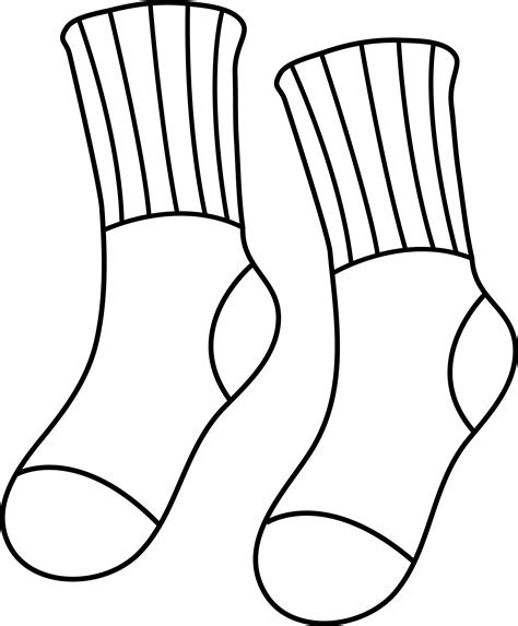 sock template sock clipart outline clipground