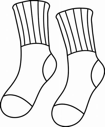 Sock Outline Clipart Socks Clip Line Pair