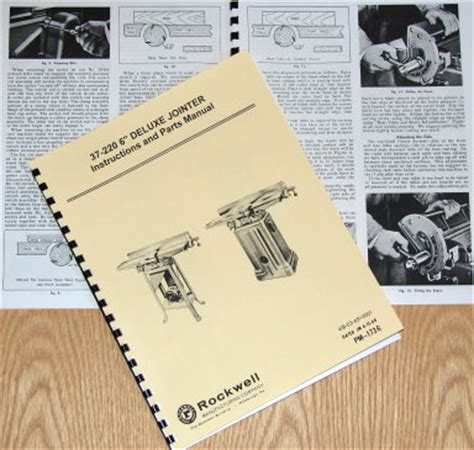 rockwell    deluxe jointer parts manual  ebay