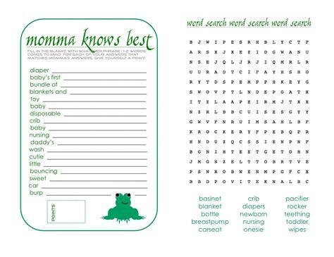 Baby Shower Games Printable Worksheets Free Fun Loving