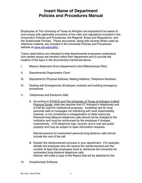 procedure manual template policies and procedures template peerpex