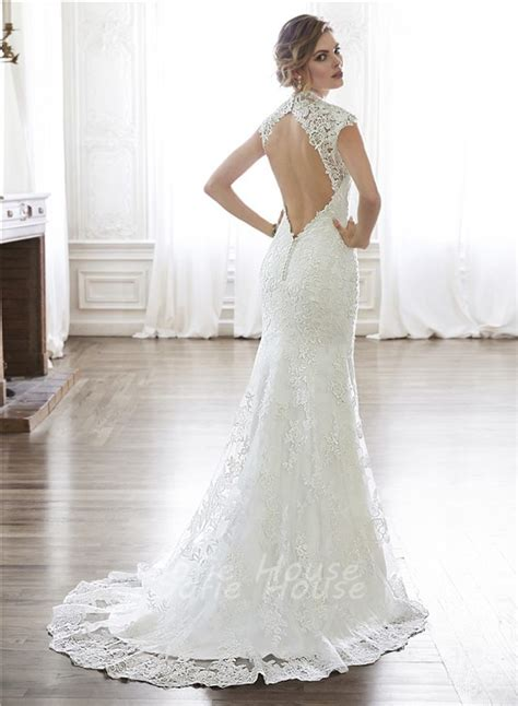 backless wedding dress lace mermaid neckline cap sleeve backless lace