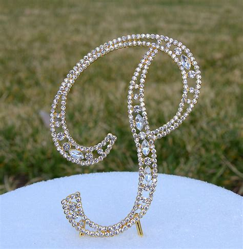crystal rhinestone gold letter p bling wedding cake topper initial birthday ebay