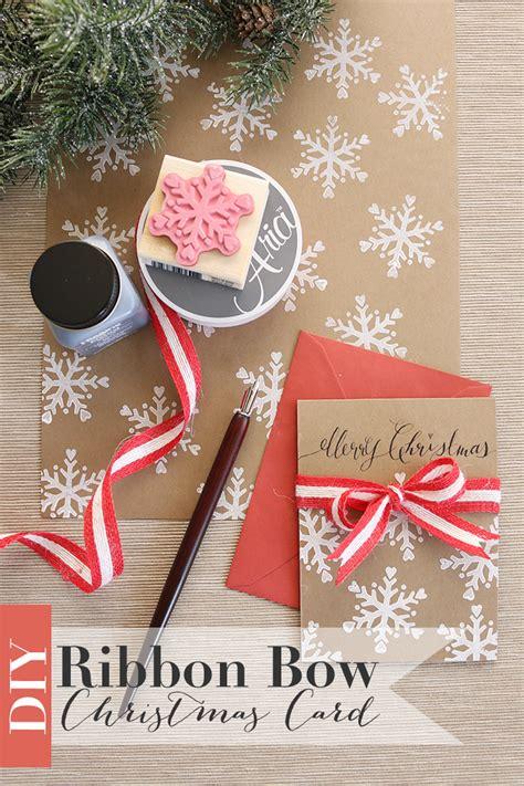 ribbon bow christmas card   handmade