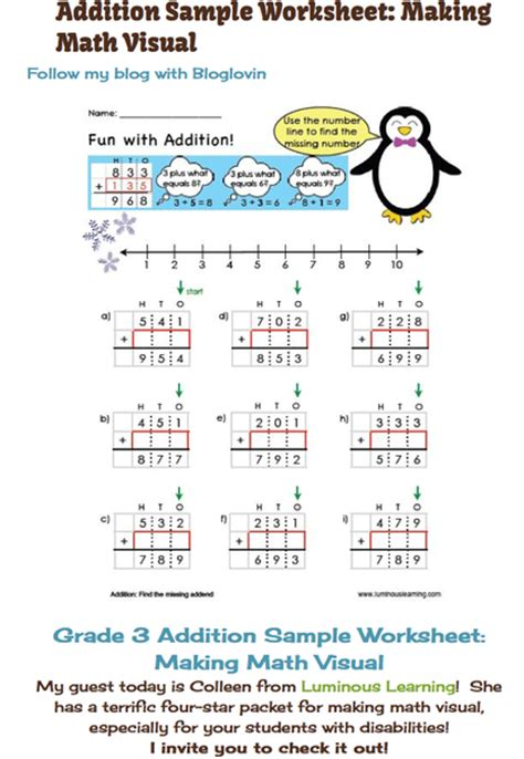 math worksheets for learning disabled students math