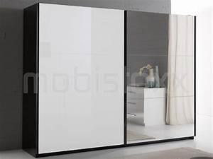 Armoire Noir Laqué : armoire salsa noir laqu 2 portes coulissantes 263 cm portes blanc laqu miroir chez mobistoxx ~ Teatrodelosmanantiales.com Idées de Décoration