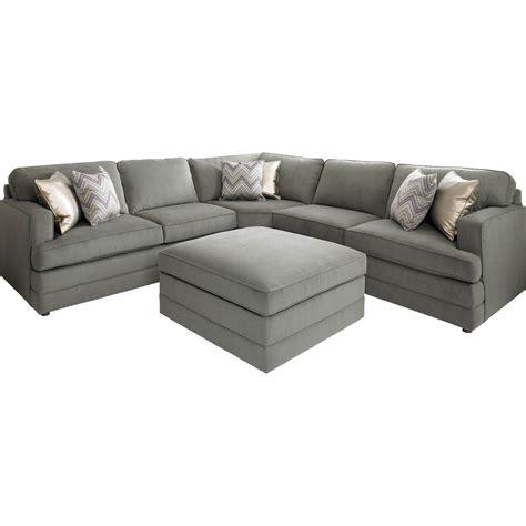bassett dalton  shaped sectional sofa  ottoman base