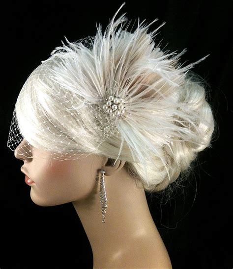 bridal feather fascinator wedding headpiece hair clip