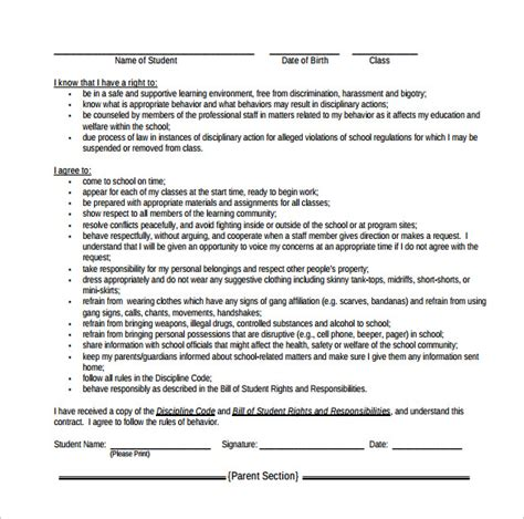 behavior contract template   samples examples