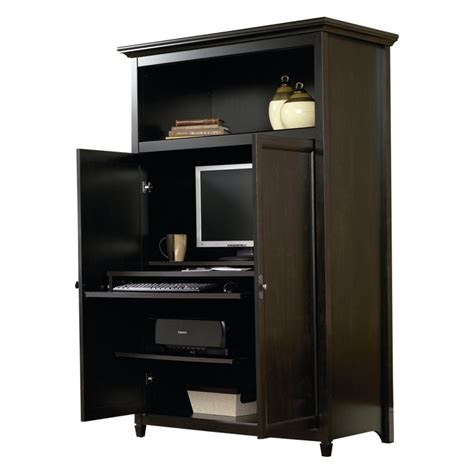 sauder edge water computer armoire estate black at
