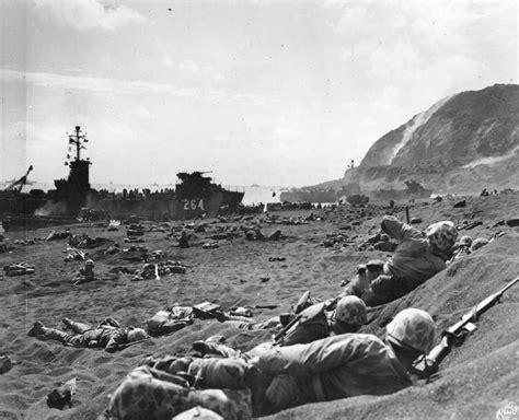 Marines On Iwo Jima Beach, February 1945