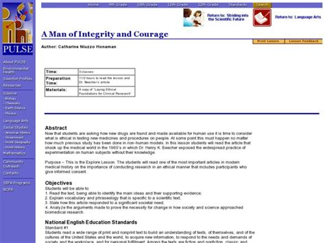 A Man Of Integrity And Courage Lesson Plan For 9th