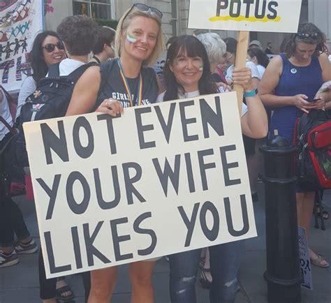british anti trump protest signs   carnival