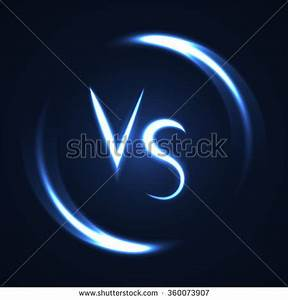 Versus Letters Luminous Logo Neon Lucent Stock Vector