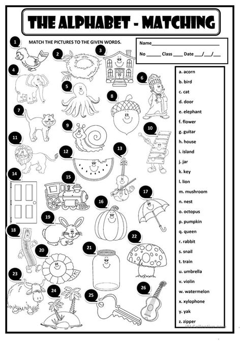 alphabet matching worksheet  esl printable