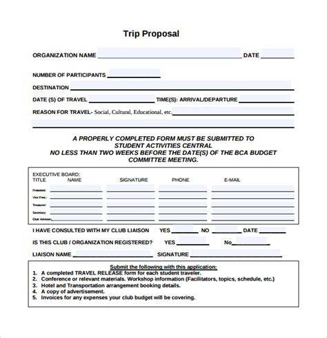 Company Trip Proposal Template by Sle Travel Proposal Template 9 Free Documents In Pdf