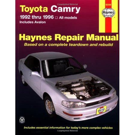 what is the best auto repair manual 1992 chevrolet 1500 interior lighting toyota camry automotive repair manual all toyota camry and avalon models 1992 thru 1996 haynes