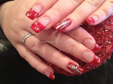 Red Gel Glitter Tips With Red