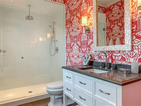 Tropical Mirrors Bathroom by Bold Orange Tropical Wallpaper In Bathroom With Pearl