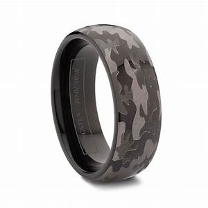 Round black tungsten carbide camo wedding rings 6mm 8mm for Tungsten camo wedding rings