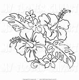 Hawaiian Lei Clipart Hibiscus Clip Coloring Pages Flower Leis Pencil sketch template