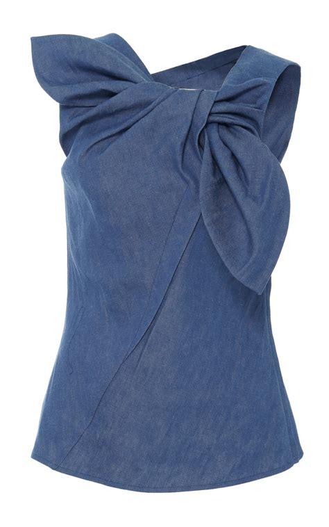 Best Denim Denim Wrap Top By Carolina Herrera Moda Operandi