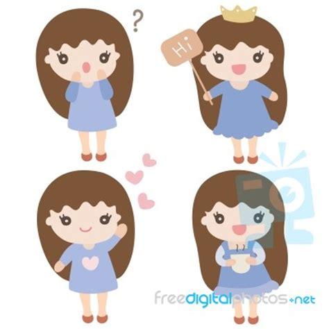 cartoon characters cute girl illustration stock image