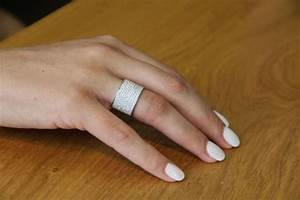 wide band ring 18k white gold wedding band 22 tcw With wide band wedding rings for women