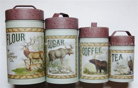 Rustic Kitchen Canisters by Cabin Food Safe Tin Canister Set Rustic Kitchen Lodge Bar