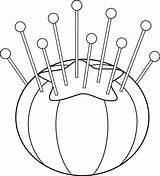Cushion Sewing Clipart Line Pincushion Clip Needle Cushions Outline Coloring Drawings Hand Sweetclipart Drawing Pages Graphics Embroidery Stitches Cliparts Projects sketch template