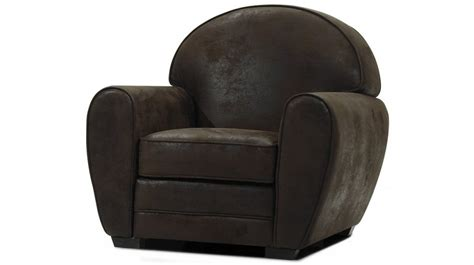 fauteuil club vintage en microfibre aspect cuir vieilli