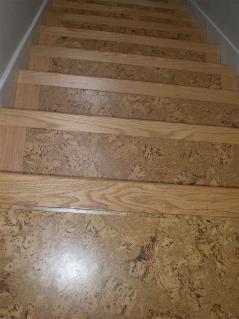 cork flooring for stairs cork on stairs with wooden stair nose pieces for the home pinterest stairs colors and mom