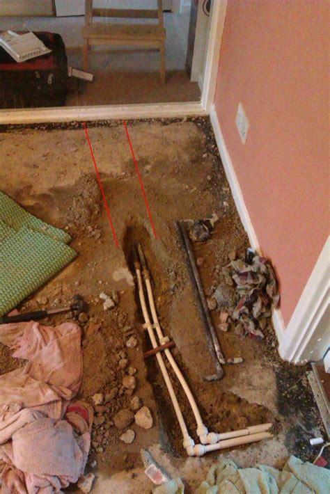 insulate copper pipe  concrete plumbing job