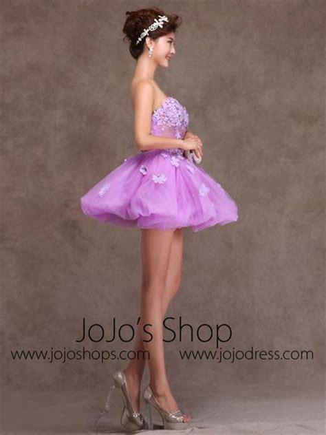 purple strapless tutu ballerina short prom dress party