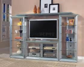 Silver Color Contemporary Tv Stand Wglass Shelves