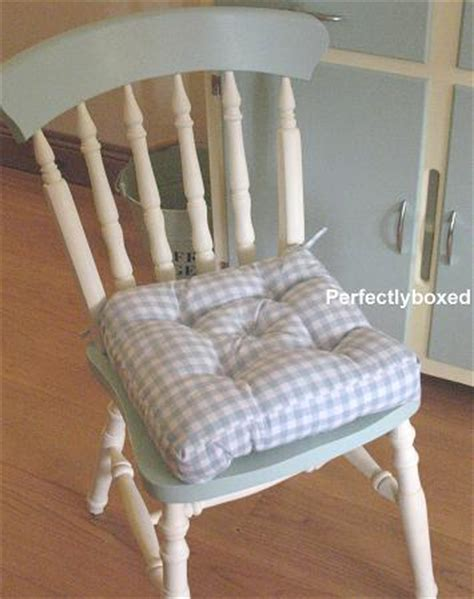 country kitchen chair cushions with ties blue gingham seat pads at www perfectlyboxed 9493
