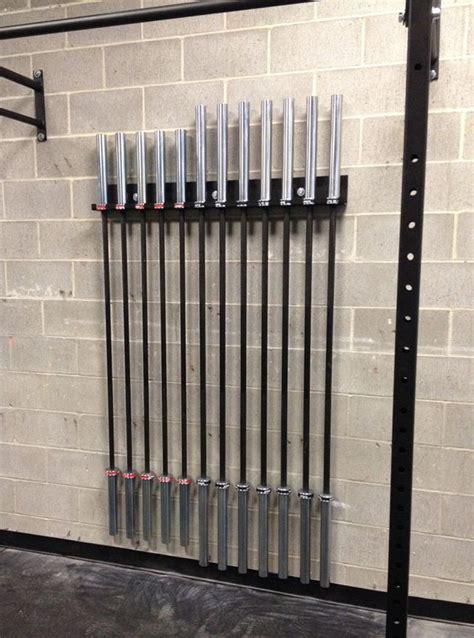ironcompany  bar wall mount olympic bar vertical storage rack home gym design gym room