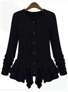 black long sleeve cable knit ruffle cardigan sweater
