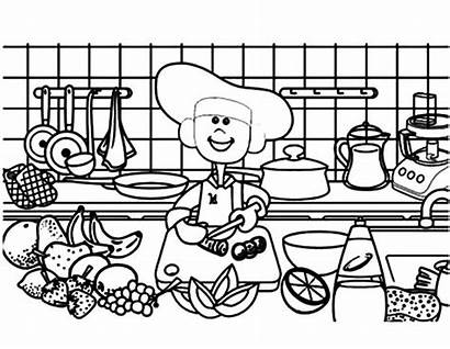 Coloring Kitchen Cooking Demonstration Tools Sheets Printable