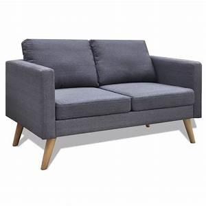 Canapé 2 Places Tissu : acheter canap 2 places en tissu gris fonc pas cher ~ Teatrodelosmanantiales.com Idées de Décoration