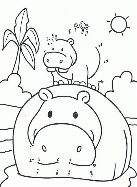 nijlpaard schattige dieren kleurplaat dieren
