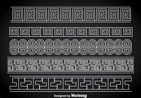 greek key white border vector sets   vector