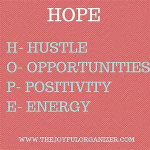 The Other Meaning of Hope The Joyful Organizer