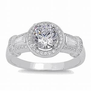 Halo ring sterling silver cz halo ring for Sterling wedding rings