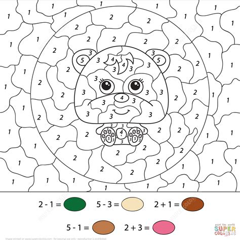 addition color by number worksheets addition coloring