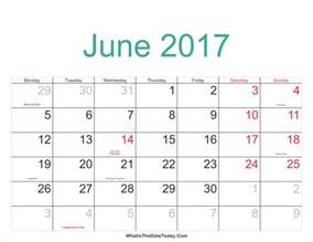 June 2017 Calendar with Holidays Printable