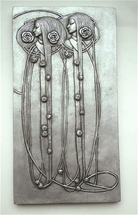 pretty mackintosh nouveau deco style wall plaque pewter silver effect ebay antiques